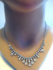 1940s - 1950's Diamante Necklace with Drop Jewelled Detail (SOLD)